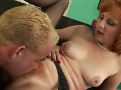Nice mature pornstar in nylon stockings riding a stiff pecker on a couch tube porn video