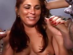 Chubby Slut Gets Her First Gangbang tube porn video
