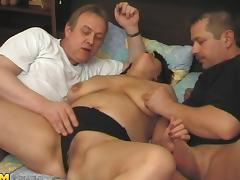 Threesome shoot of matured dame giving huge dicks blowjob tube porn video
