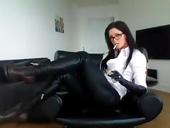 Milf In Glasses Smoking In Sexy Boots tube porn video