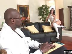 Hot stunner Jada Stevens enjoys having her pussy plowed with a BBC tube porn video
