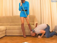 Big ass foot fetish Russian dame striping her slave lovely tube porn video