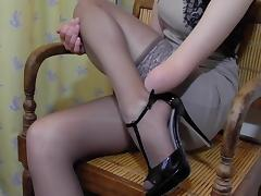 Arm Amputee putting on Stockings tube porn video