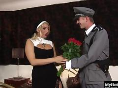 Military guy with a big cock gives the nun a hardcore penetration tube porn video