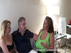 Fat mature bombshell gets nailed while her husband watches tube porn video