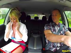 Hypnotic MILF with huge tits doing the cock riding in the car tube porn video