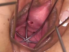 PJGIRLS Huge dildo gapes her pussy & special dildo speculum tube porn video
