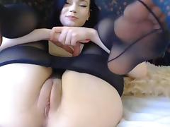 Brunette saggy tits bobs hot ass cubby tight cameltoe pussy tube porn video