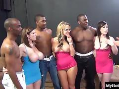 Three hot sluts and three hung black studs bang like rabbits tube porn video