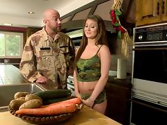 Military guy licking brunette pussy before hardcore smash in the kitchen tube porn video