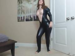 Girl in Latex Catsuit Dancing tube porn video