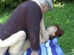 Pretty young french redhead banged by oldman voyeur outdoor tube porn video