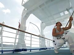 Kristal Anne fucks a handsome guy on a deck of a boat tube porn video