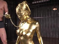japanese cutie with big boobs is covered in gold tube porn video