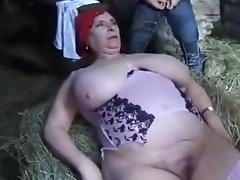 FRENCH BBW GRANNY OLGA FUCKED BY 2 MEN IN THE FARM tube porn video