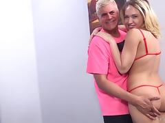 Pussy drilling with cumshot with Kagney Linn Karter and Porno Dan tube porn video