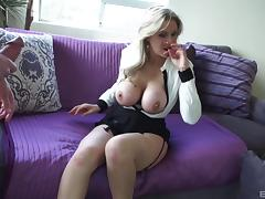 Chesty Julia Ann spreads and has her shaved fuck hole penetrated tube porn video