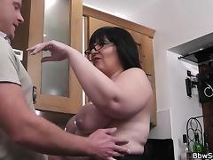 Married man fucks BBW on the floor tube porn video