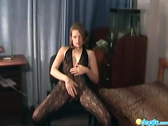 Rufina on crotchless fishnet solo action tube porn video