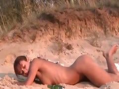 Sweet natasha chick naked on the beach tube porn video