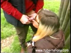 Amateur blonde Italian is outside and gives this guy head tube porn video