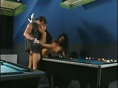 hot double penetration on a billiards table tube porn video