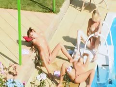 Three teenies secret fucking by the pool tube porn video