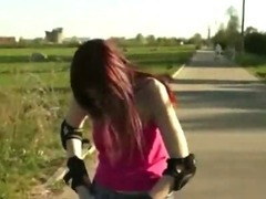 Skating euro chick at the park ends up fucking with a stranger in public tube porn video