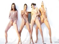 Four lesb babes fingering together tube porn video