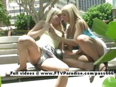 Sandy and Yana funny adorable lesbians public flashing tube porn video