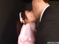 Asian maiden erotically kissing a guy tube porn video