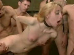 Blond wants to try a gangbang tube porn video