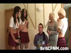 Hot school girl dressed CFNM girls torment tied up guy tube porn video