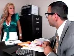 Bridgette B bares her juggs and sucks on Voodoo's big cock tube porn video