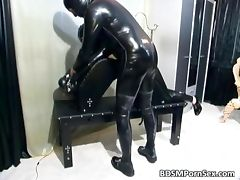 Kinky bitch is in latex suit and loves tube porn video