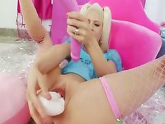 sexy blonde filling her bum tube porn video