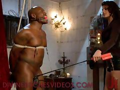 Black bound mucle guy fucked by mistress with huge strapon cock tube porn video