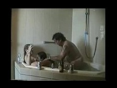UK 3 some in bathroom Two plump English gals in the bath with a tubby guy take it in turn to be shag tube porn video