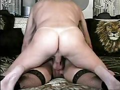 Older Gent licks his cum out of her ass tube porn video