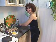Teen Stud Fucks and Facializes Horny Mature Brunette in the Kitchen tube porn video