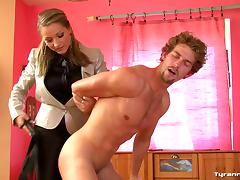 She spanks the naked man hard tube porn video