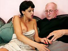Wrinkled grandpa fucks young slut tube porn video