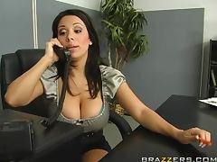 Sara Stone Munching The Brunette Lesbian MILF's Carpet In The Office tube porn video