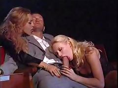 Theater threesome with cumshot tube porn video