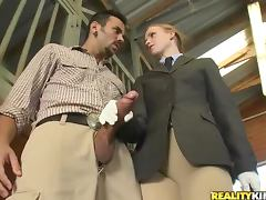 Sexy redhead laid in horse stables tube porn video