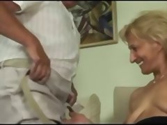 Blonde mature masturbates and sucks and fucks with old man tube porn video