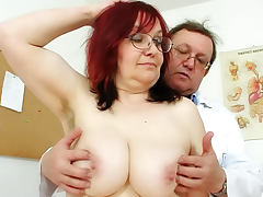 Hairy mature redhead gets gyno exam tube porn video