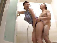 Nachi Kurosawa is a busty babe getting banged in the shower tube porn video