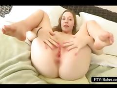 Teen auburn fills her fuck holes with cucumber tube porn video