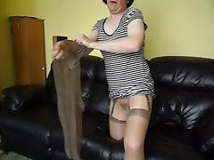 Glossy pantyhose nylons and dildo tube porn video